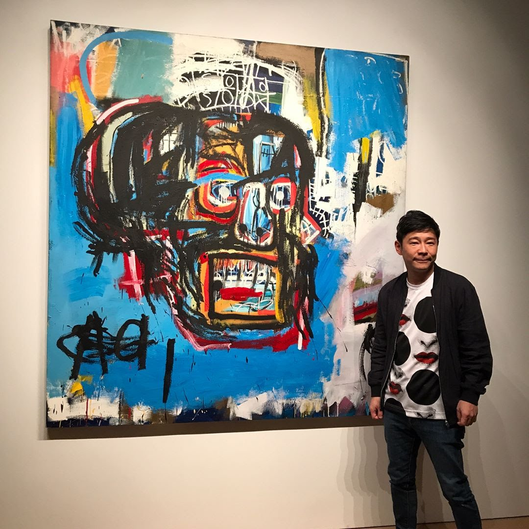 Yusaka Maezawa with his prized Basquiat, Untitled (1982). Image courtesy of @yusaku2020.
