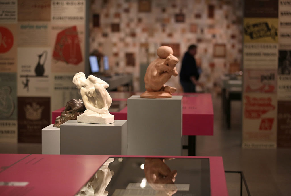 """Sculptures by Auguste Rodin at the exhibition """"Inventory Gurlitt"""" in Bonn, Germany, at the Bundeskunsthalle. Photo by Oliver Berg/picture alliance/Getty Images."""
