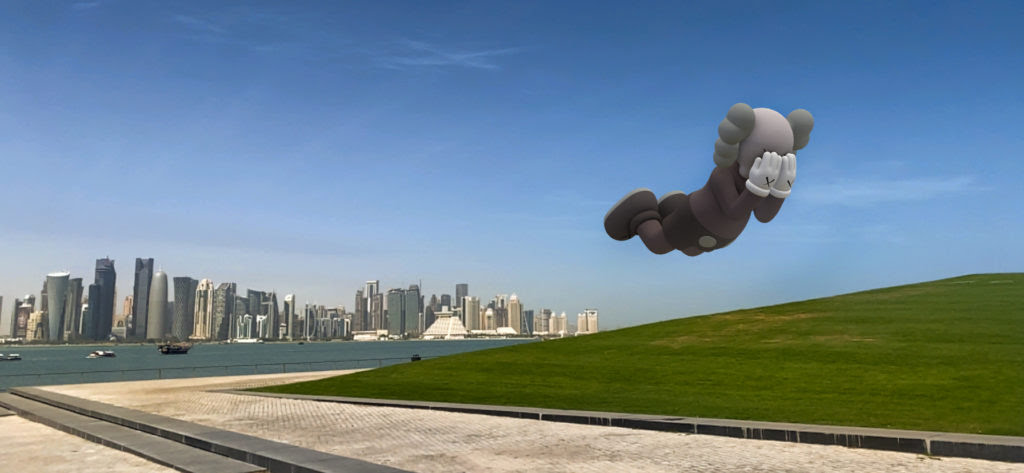 KAWS, COMPANION (EXPANDED) in Doha, 2020, augmented reality. Courtesy: KAWS and Acute Art.