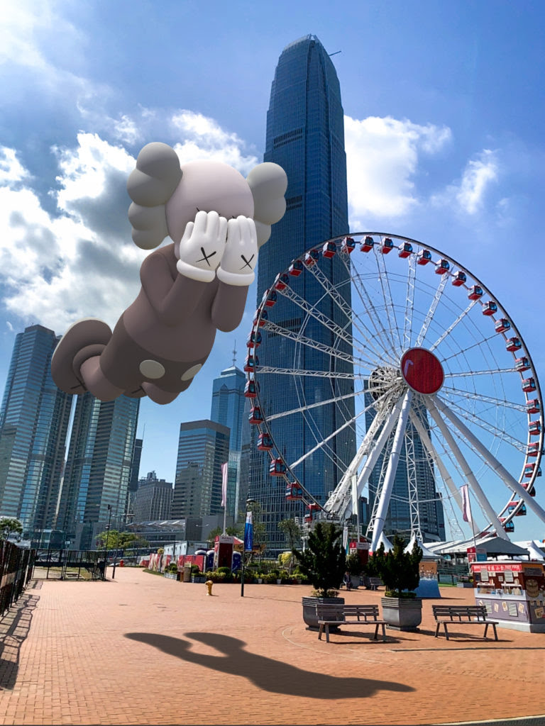 KAWS, COMPANION (EXPANDED) in Hong Kong, 2020, augmented reality. Courtesy: KAWS and Acute Art.
