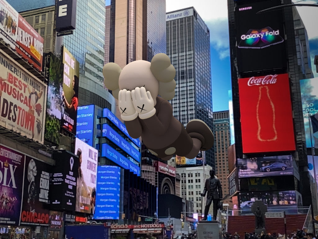 KAWS, COMPANION (EXPANDED) in Times Square, New York, 2020, augmented reality. Courtesy: KAWS and Acute Art.