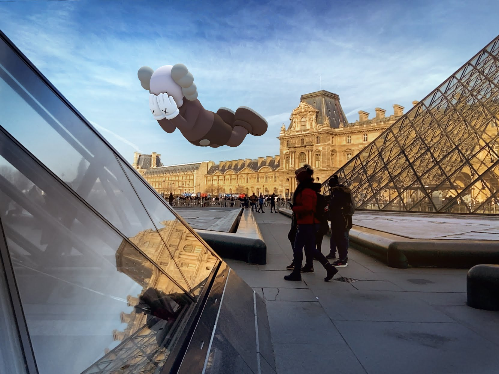 KAWS, COMPANION (EXPANDED) in Paris, 2020, augmented reality. Courtesy: KAWS and Acute Art.