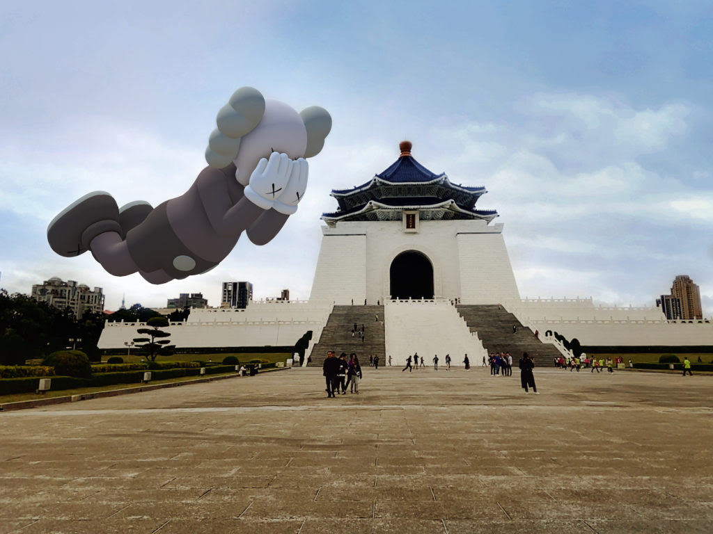 KAWS, COMPANION (EXPANDED) in Taipei, 2020, augmented reality. Courtesy: KAWS and Acute Art.