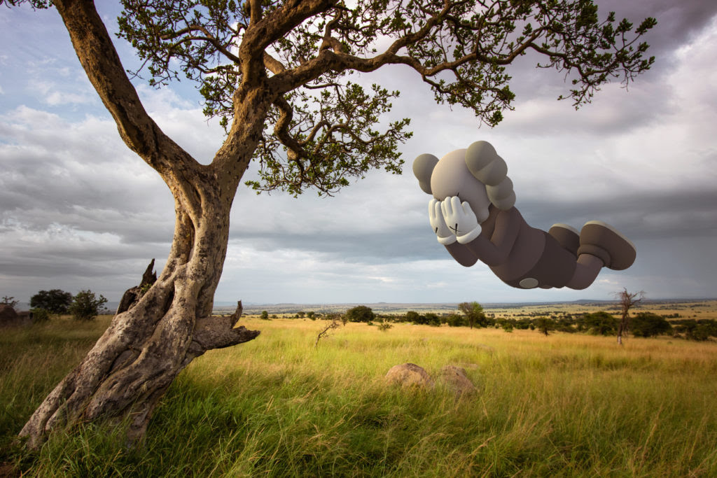 KAWS, COMPANION (EXPANDED) in Serengeti, 2020, augmented reality. Courtesy: KAWS and Acute Art.